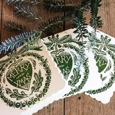 Hand Printed Lino Christmas Cards 2015. Now available via my Folksy shop.