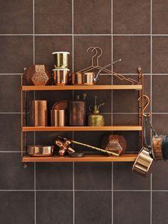 String shelves: copper
