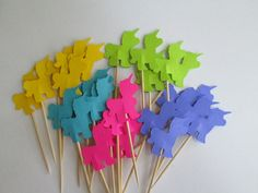"24 Bright Unicorn Party Picks 3"" / Food Picks / Toothpicks  / Cupcake Toppers / Birthday Party Picks.  via Etsy."