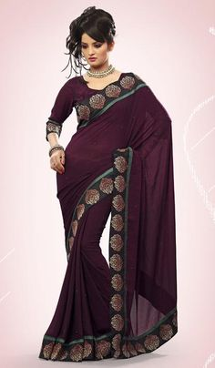 G3 fashions Wine Georgette Party Wear Designer Saree  Product Code : G3-LS11436 Price : INR RS 2072