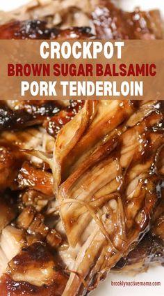 Slow Cooker Pork Tenderloin, Recipe Pork Loin Roast Crock Pot, Pork Tenderloin Roast Recipes, Pork Tenderloin Recipes Crockpot, Pork Tenderloin Glaze, Crock Pot Pork, Pork Roast, Pork Chops, Balsamic Pork Tenderloins