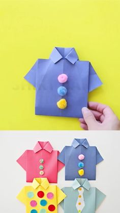Make these origami shirt father's day cards with the kids to celebrate dad. Include a photo to make it a special handmade father's day card! crafts ideas Origami Shirt Father's Day Card Diy Crafts Hacks, Paper Crafts For Kids, Diy Arts And Crafts, Creative Crafts, Preschool Crafts, Fun Crafts, Decor Crafts, Card Crafts, Diys With Paper