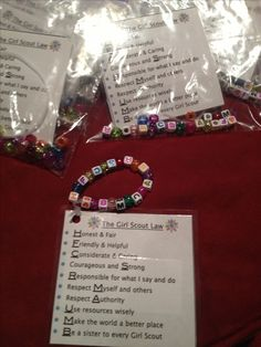 Girl Scout Law bracelet craft so we can practice!