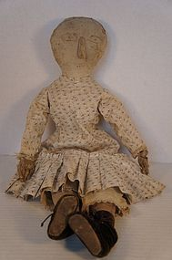 Early cloth doll with great face, calico dress folky