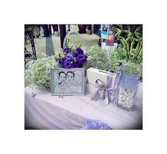 Hydrangeas & Eustomas on Purple Wedding Reception Table