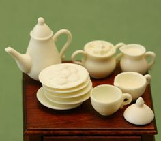 Resin 1:12 Scale Dollhouse Tea Set Kit by Mustard Seed Miniatures