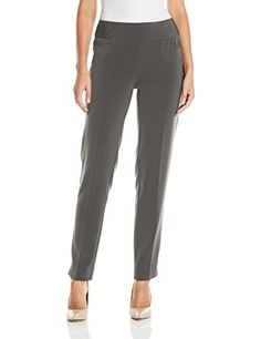 SLIMSATION Womens Elastic Waist Twill Leg Dress Pant Withfrnt Slash Pockets Gunmetal 12 *** Check this awesome product by going to the link at the image.