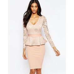 City Goddess Peplum Midi Dress with Lace Top ($57) ❤ liked on Polyvore featuring dresses, nude, lace peplum dress, lace dress, white peplum dress, white midi dress and midi cocktail dress