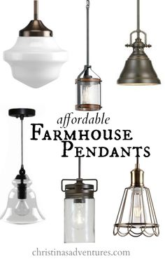 Affordable farmhouse pendants - all under $100.  Would be perfect over a kitchen island or a kitchen sink.