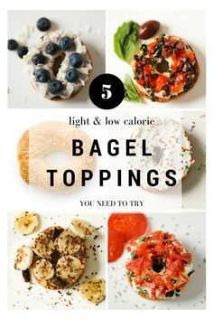 5 Delicious and Light Bagel Toppings - here are 5 low calorie bagel spreads you can make with no guilt at all. These toppings include flavors like funfetti, pizza, mediterranean, blueberry coconut, and even chocolate peanut butter banana! All have nutrition information