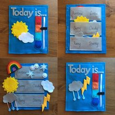 Weather felt book page 2 pages preschool activity learn the weather what s the weather sunny cloudy rainbow lightening toddler gift When I would nanny I did weather updates with the kids every day, love this! Diy Quiet Books, Baby Quiet Book, Felt Quiet Books, Quiet Book Templates, Quiet Book Patterns, Toddler Learning Activities, Infant Activities, Preschool Activities, Toddler Books