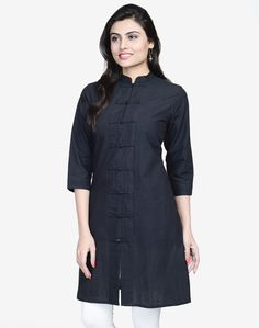 Perfect for those who like their classic cotton kurta with a twist of interesting detailing. This A-Line, medium length kurta is tailored with a traditional, comfortable fit.