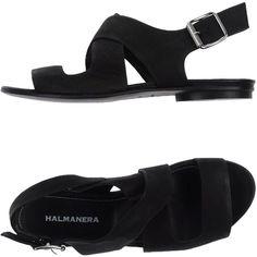 Halmanera Sandals (1 890 SEK) ❤ liked on Polyvore featuring shoes, sandals, black, buckle sandals, flat leather sandals, black leather sandals, flat shoes and leather shoes