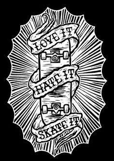 Chris Bourke - Love it Hate it Skate it Skateboard Tattoo, Skate Tattoo, Skateboard Art, Invader Zim Characters, Skate Art, Flash Art, Traditional Tattoo, Tattoo Drawings, Cool Art