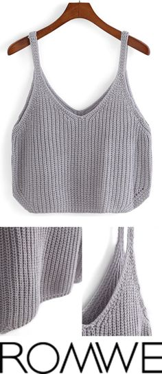 Grey Spaghetti Strap Knit Cami Top