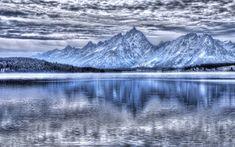 Download wallpapers Teton National Park, mountain lake, winter, snow, mountain landscape, USA, Wyoming