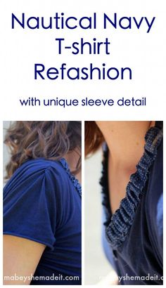 The sleeves on this refashion are awesome! Nautical Navy T-shirt Refashion | Mabey She Made It
