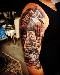 Family tattoos for men · family sleeve tattoo, mountain sleeve tattoo, nature tattoo sleeve, leg sleeve tattoo, Mountain Sleeve Tattoo, Family Sleeve Tattoo, Nature Tattoo Sleeve, Best Sleeve Tattoos, Mountain Tattoos, Cover Up Tattoos For Men, Family Tattoos For Men, Family Tattoo Designs, Arm Tattoos For Guys