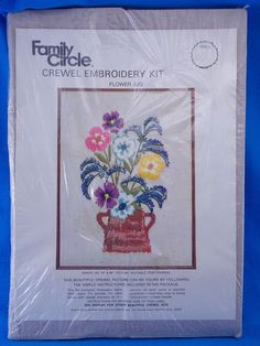 Family Circle Flower Jug Crewel Embroidery Kit Floral Stitchery Needle Crafts #FamilyCircle