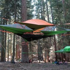 Discover the best way to camp above the ground with the Orange Tentsile Connect Tree Tent, $495.00 and FREE SHIPPING with Hammock Town.