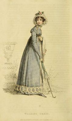 Ackermann's Repository fashion plate - lovely walking dress vintage fashion plate