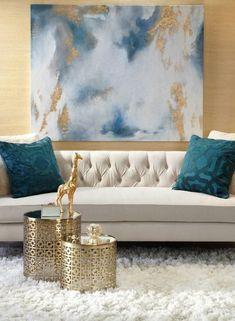 Blue living room decor, art for living room, modern living room furniture, modern Cozy Living Rooms, Living Room Modern, Living Room Interior, Home Interior Design, Living Room Designs, Modern Interior, Modern Luxury, Interior Ideas, Modern Wall
