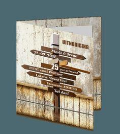 Uitnodiging 25 jaar huwelijk in houtlook Signs, Decoration, Dekoration, Shop Signs, Decorations, Deco, Dishes, Decor, Decorating