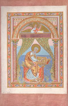 Evangelist portrait (Matthew), folio 20 verso - Codex Aureus of Echternach Medieval Manuscript, Medieval Art, Medieval Paintings, Carolingian, Luxembourg, Portrait, Illustration, Prints, Scrapbooking