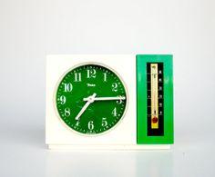Retro Green Alarm Clock / Desk Clock with Thermometer / Insa 70'a Vintage Made in Yugoslavia / White & Green
