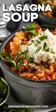 Lasagna Soup is a fun way to make the best lasagna. No need to boil noodles and bake a casserole, just put everything into one pot! #spendwithpennies #lasagnasoup #entree #recipe #cheesy #savory #crockpot #easy #onepot #best Beef Recipes, Soup Recipes, Dinner Recipes, Cooking Recipes, Pasta Recipes, Dinner Entrees, Dinner Dishes, Pasta Dishes, Amor