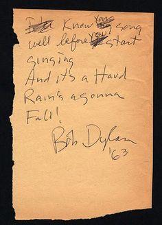 """Hand written lyrics to """"Hard Rain..."""""""