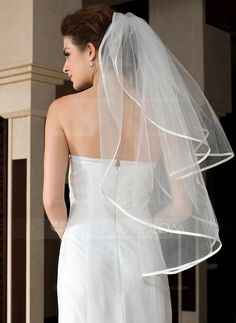 Two-tier Fingertip Bridal Veils With Ribbon Edge (006036611) - JJsHouse