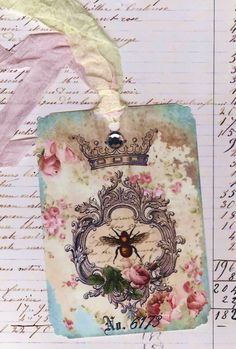 Shabby Vintage French Bee Tags with Bling  Extra Large by Bluebird Lane