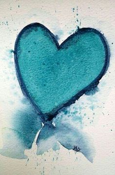 "Aqua heart watercolor ""And above all, watch with glittering eyes the whole world around you because the greatest secrets are always hidden in the most unlikely places. I Love Heart, Happy Heart, My Heart, Heart In Nature, Heart Art, Whatsapp Wallpaper, Tiffany Blue, My Favorite Color, Aqua Blue"