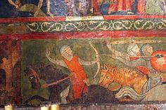 St Clermont Cathedral, France.  Chapel of St Georges, - a fresco in the chapel, dating from around 1250