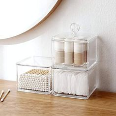 Sooyee 3 Tiers Clear Acrylic Stackable Cosmetic Makeup Storage Cube Organizer,Cotton Ball and Swab Holder. Plastic Container for Cotton Swabs, Cotton Makeup Cosmetics, Plastic Drawers, Plastic Box Storage, Plastic Organizer, Cube Organizer, Acrylic Organizer, Make Up Storage, Cube Storage, Makeup Storage