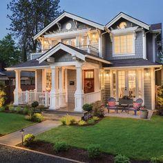 Dream House Exterior, Dream House Plans, Home Exterior Design, House Ideas Exterior, Big Houses Exterior, Craftsman Style Exterior, Home Styles Exterior, Beautiful House Plans, House Exteriors