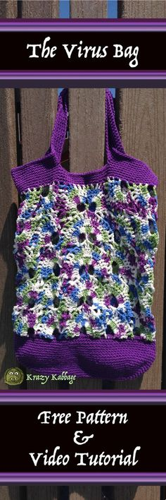 The Virus Bag Free Crochet Pattern – Krazykabbage #virusblanket #virusshawl #crochetvirus #freepattern #videotutorial