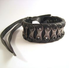 Upcycled Bike Chain Cuff Recycled Bicycle Jewelry Mens Metal Steel Black Rubber Bracelet. $30.00, via Etsy.