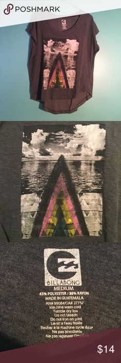 Billabong Flowy Triangle & Sky Graphic Tee Charcoal tee with black & white graphic design & rainbow detail Billabong Tops Tees - Short Sleeve