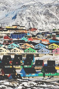 Colorful Homes Of Ilulissat Greenland #travel #vacation #holiday
