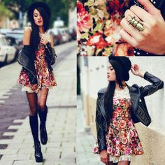 Leather Jacket, Flower Print Dress, Overknee Socks & Heels.