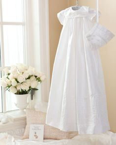 traditional silk christening gown & bonnet