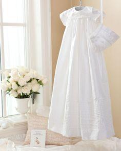 traditional silk christening gown & bonnet