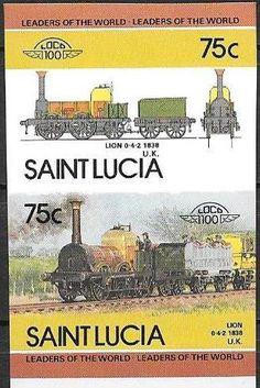 Stamp: Lion, 1938, U.K. (Saint Lucia) (Locomotives) Mi:LC 720B-721B