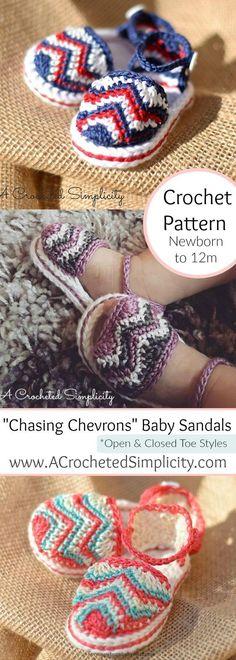 "Crochet Baby Booties Crochet Pattern - ""Chasing Chevrons"" Baby Sandals ..."