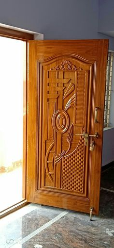 My work Source by ediganageswari. Single Main Door Designs, House Main Door Design, Wooden Front Door Design, Pooja Room Door Design, Door Gate Design, Wooden Front Doors, Wood Design, Main Entrance Door Design, Door Design Images