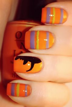 From simple pumpkin nails to a full-on nail art zombie manicure, we rounded up the best 2012 Halloween nails. Candy Corn Nails, Nail Candy, Halloween Nail Designs, Halloween Nail Art, Halloween Horror, Halloween Candy, Halloween Makeup, Halloween Ideas, Witch Nails