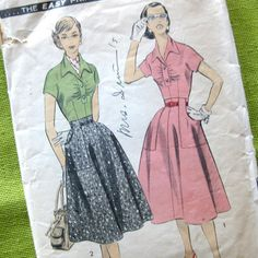 1950s Vintage Pattern Skirt and Blouse with Wing by SelvedgeShop