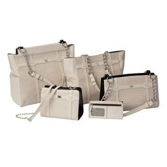 Firfield Face- comes in all 4 sizes plus a flat wallet! Cream embossed woven faux leather with cream piecing.